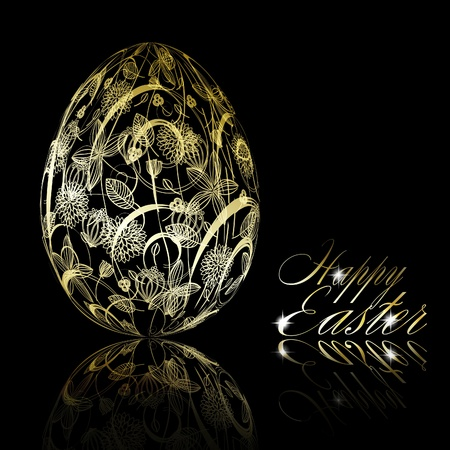 Abstract golden easter egg on black background.