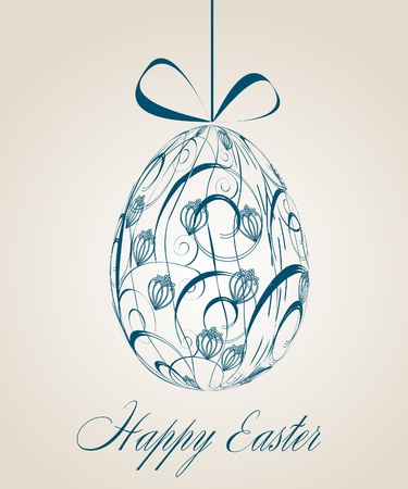 Vintage Easter greeting card. Vector eps10 illustration Vector