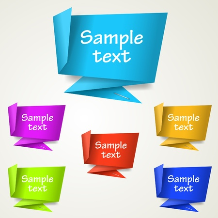 Set of abstract origami tag labels. Vector eps10 illustration Vector