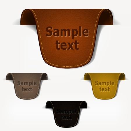 pesta�as: Conjunto de etiquetas de etiqueta de cuero. Ilustraci�n eps10 de vectores