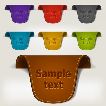 Set of multicolored leather tag labels. Vector eps10 illustration