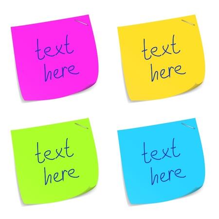 note de service: Ensemble de notes m�mo sticky color�. Illustration de vecteur eps10