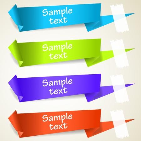 hablando: Conjunto de etiquetas de etiqueta papiroflexia abstracta. Ilustraci�n eps10 de vectores