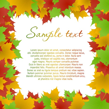 Multicolored maple leaves frame. Vector eps10 illustration Vector