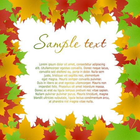 Multicolored maple leaves frame. Vector eps10 illustration Vector