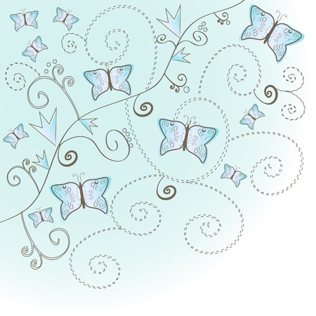Elegant floral vintage background with butterflies. Stock Vector - 9680138