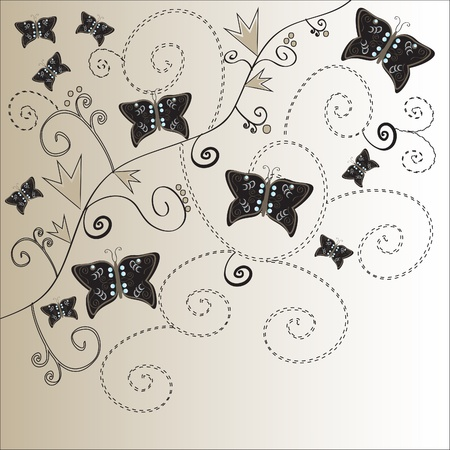 Elegant floral vintage background with butterflies. Vector