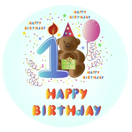 Greeting card Happy Birthday with bear.  Vector