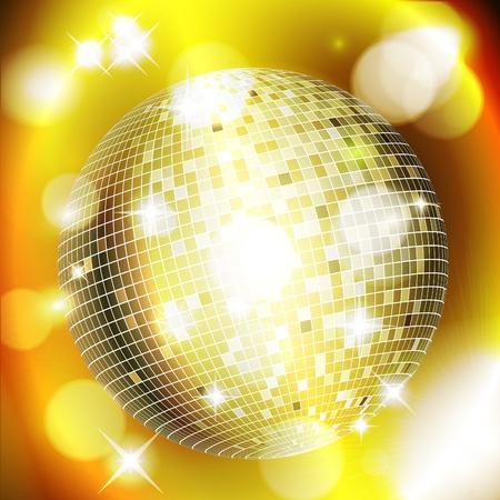 Abstracto fondo dorado con bola de discoteca. Ilustración de vector eps10