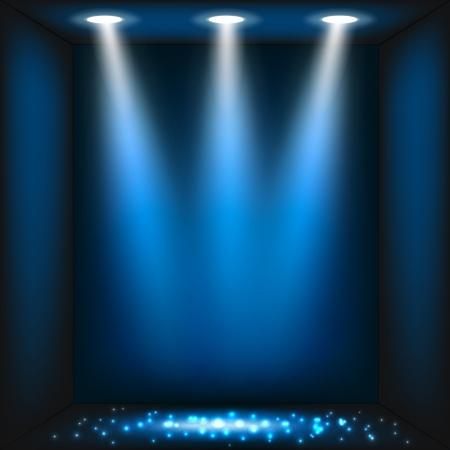 spotlights: Abstracto fondo azul oscuro. Ilustraci�n de vector eps10