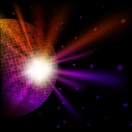 Fondo multicolor abstracto con bola de discoteca. Ilustración de vector eps10
