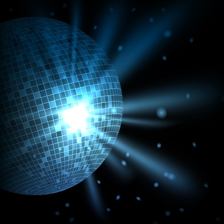 Abstract blue background with disco ball. Vector eps10 illustration Vector