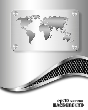 Abstract metallic business background with world map. Vector eps10 illustration