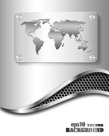 Fondo abstracto negocios metálico con el mapa mundial. Ilustración de vector eps10 Ilustración de vector