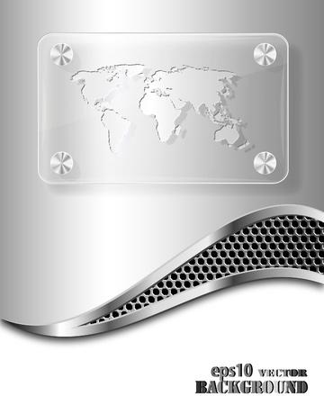 Marco de vidrio con el mapa mundial sobre fondo metálico. Concepto de negocio abstracto.Ilustración de vector eps10 Ilustración de vector