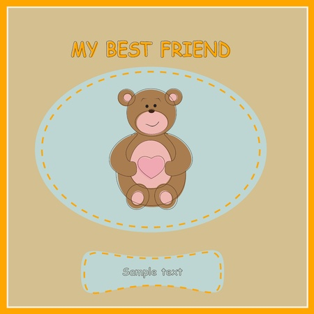 Greeting card with bear. Vector