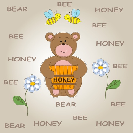 Baby background with funny teddy bear.  Vector