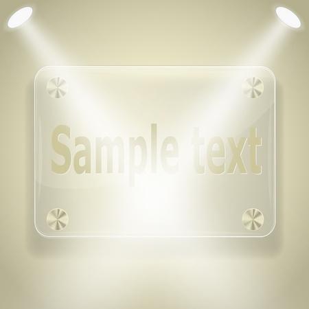 Glass frame with spotlights. Vector eps10 illustration Vector