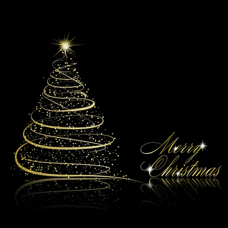 Abstract golden christmas tree on black background. Vector eps10 illustration Stock Vector - 10799635