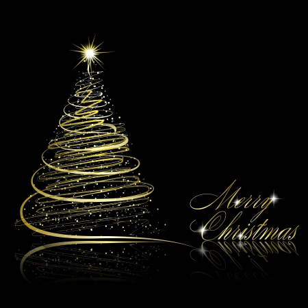 Abstract golden christmas tree on black background. Vector eps10 illustration Stock Vector - 10799636