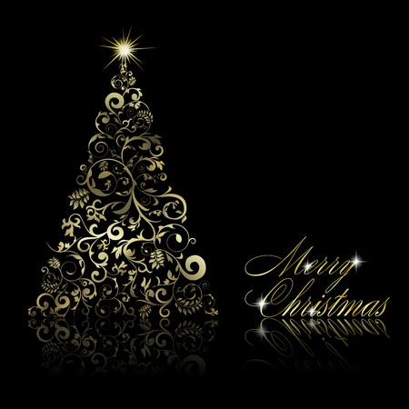 Abstract golden christmas tree with swirls and floral elements on black background. Vector eps10 illustration Vector