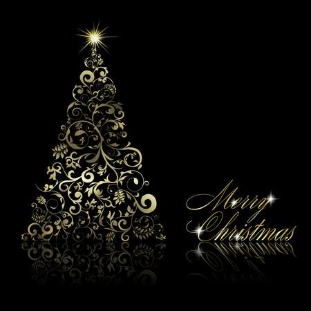 weihnachten zweig: Zusammenfassung goldenen Weihnachtsbaum mit Strudeln und floralen Elementen auf schwarzem Hintergrund. Vector Illustration eps10