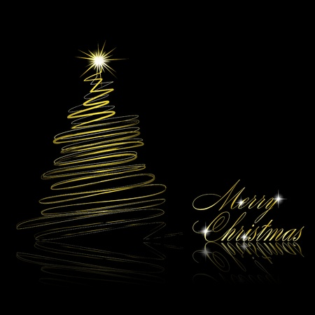 Abstract golden christmas tree on black background. Vector eps10 illustration Vector