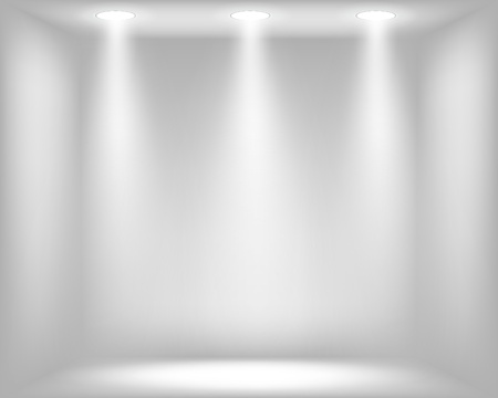 light room: Abstract light grey background with spotlights illustration