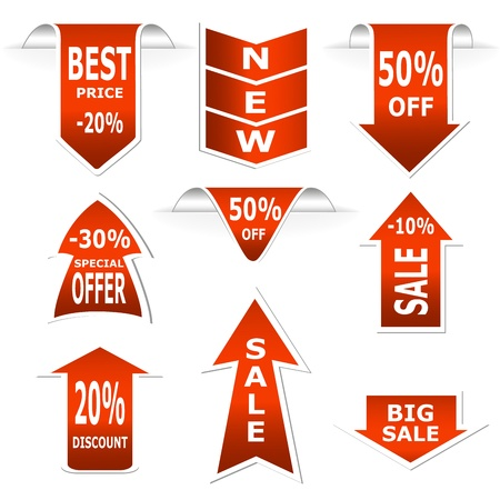 Arrows set. Red sale and discount announcements illustration Vector
