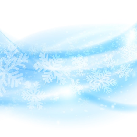 Merry Christmas background. Abstract light blue waves with snowflakes illustration Vector