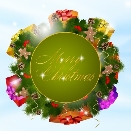Christmas greeting card with gift boxes illustration Vector