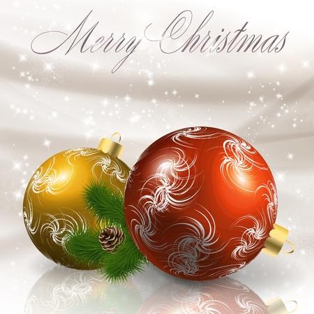 Christmas balls on light grey background illustration Vector