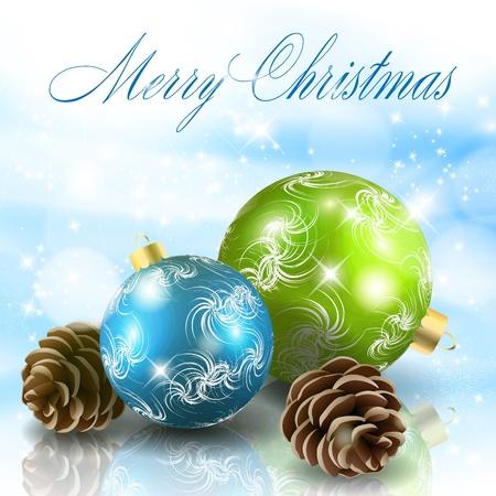 navidad elegante: Bolas de Navidad con conos de ilustraci�n de fondo azul claro Vectores