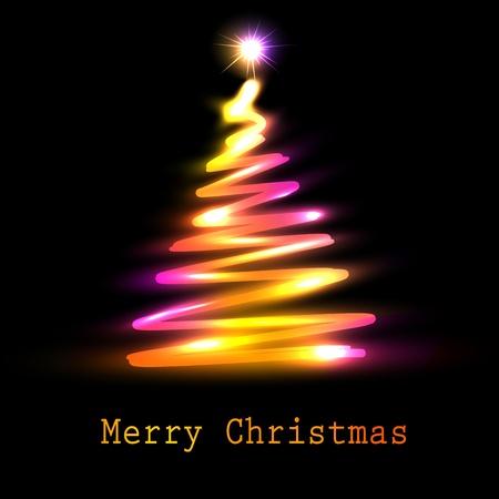 cristmas: Christmas tree greeting card illustration