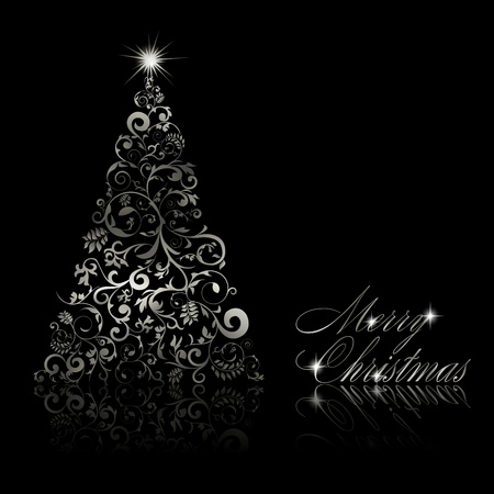 cristmas card: Christmas tree with swirls and floral elements on black background illustration