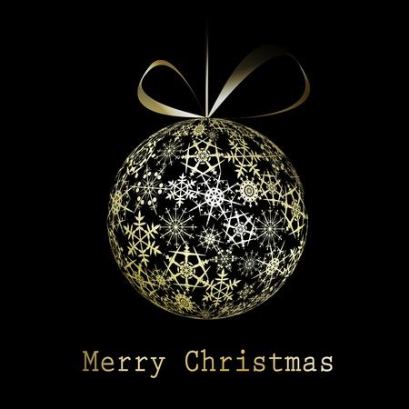 Golden Christmas greeting card illustration Stock Vector - 11091388