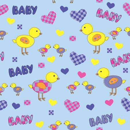 Seamless background with cartoon drawings for baby.  Vector