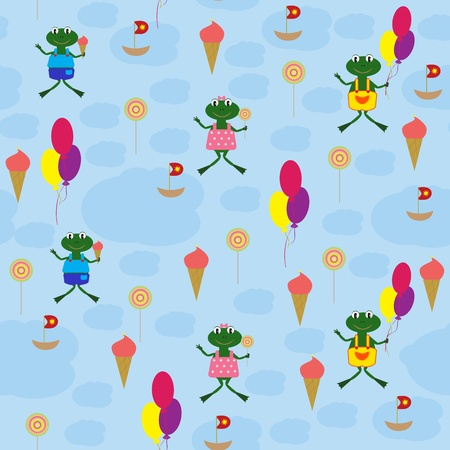 Seamless baby background with cartoon drawings.  Vector