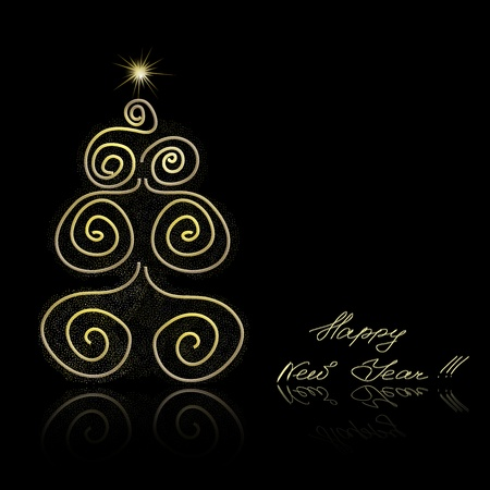 Abstract golden christmas tree on black background. illustration Stock Vector - 11272878