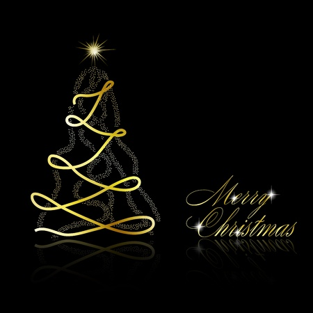 Christmas tree on black background. Abstract  illustration Vector