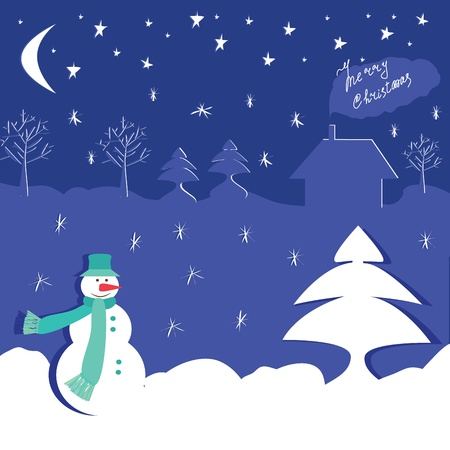Winter design with snowman. Vector  illustration Vector