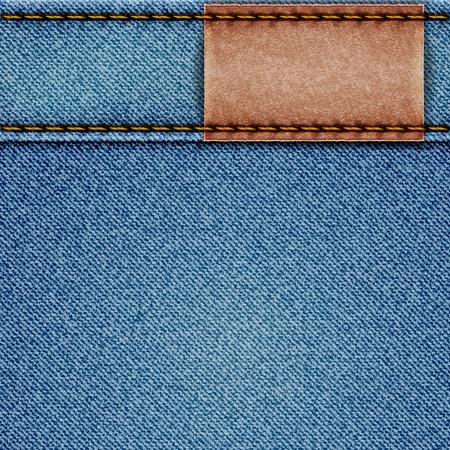 blue jeans: Denim texture with leather label.  illustration