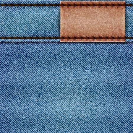 Denim textuur met lederen label. illustratie