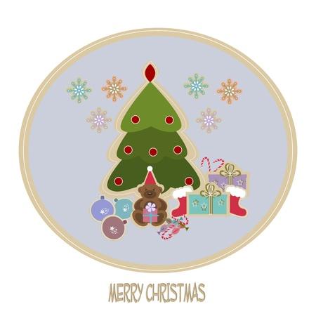 botas de navidad: Felicitación de Navidad de la tarjeta. ilustración Vectores
