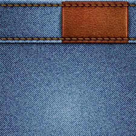 Jeans textuur met lederen label. achtergrond Stock Illustratie
