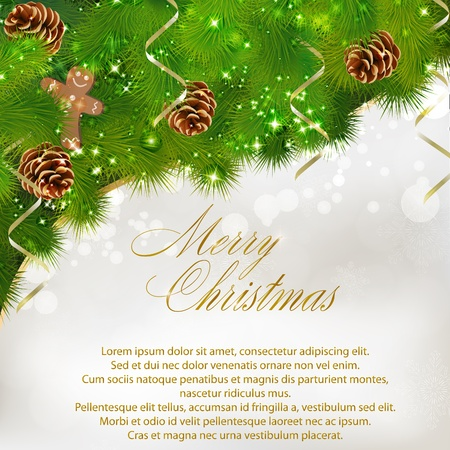 Merry Christmas greeting card.   illustration Vector