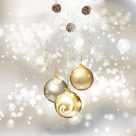 Merry Christmas greeting card with Christmas balls.  illustration Vector