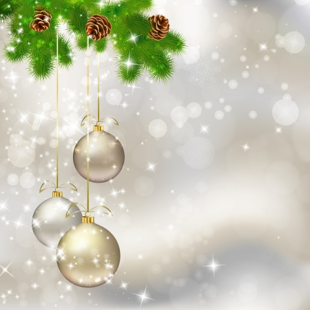 Christmas balls on abstract light grey background. illustration