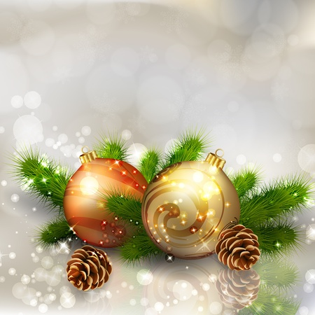 Christmas balls with fir branches on abstract light grey background.   illustration