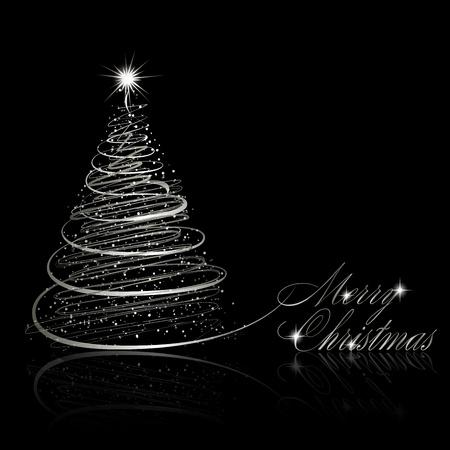 Silver Christmas tree on black background.  illustration Illustration